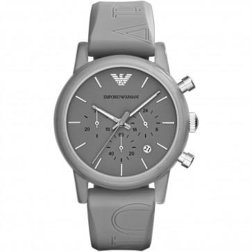 Emporio Armani Unisex Chronograph Watch Grey Silicone Strap Grey Dial AR1055