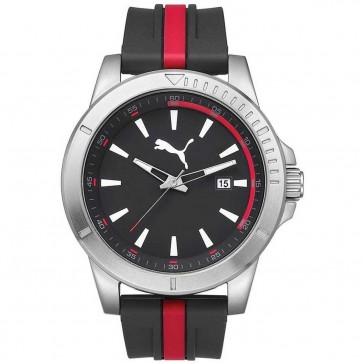 Puma Mens Chaser Watch Black And Red Silicone Strap PU911251001