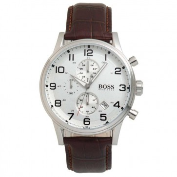 Hugo Boss Mens Aeroliner Chronograph Watch Brown Strap 1512447
