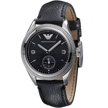 Emporio Armani Mens Watch Black Leather Strap Black Dial AR5898