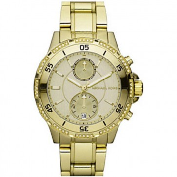Michael Kors Womens Ladies Chronograph Garrett Wrist Watch Gold Tone MK5619