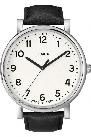 Timex Mens Indiglo Watch Black Leather Strap White Dial T2N338
