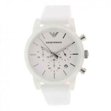 Emporio Armani Unisex Chronograph Watch White Silicone Strap White Dial AR1054