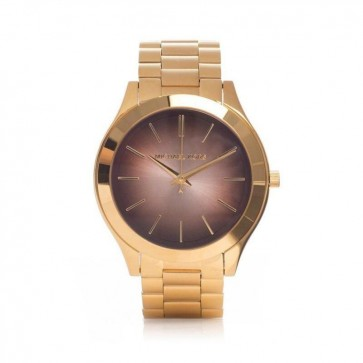 Michael Kors Ladies Slim Runray Watch Gold PVD Stainless Steel Case and Bracelet Brown Dial MK3381