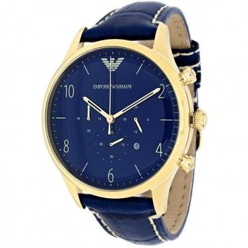 Emporio Armani Mens Chronograph Watch Blue Strap Blue Dial AR1862