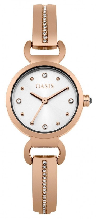Oasis Womens Ladies Wrist Watch White Face Rose Gold Strap  B1574