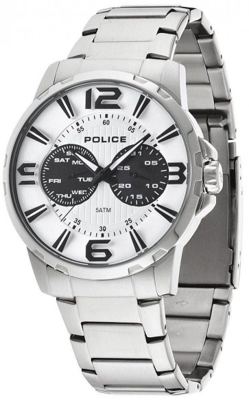 Police Visionary Mens Quartz Wrist Watch White Dial Chronograph 14100JS/01M