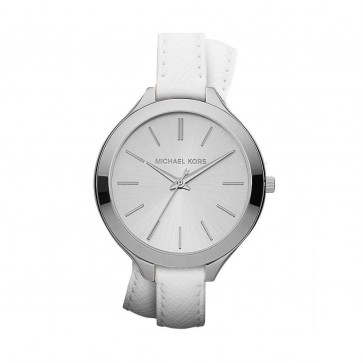 Michael Kors Ladies Watch Slim Runway Double Vachetta White Strap MK2325