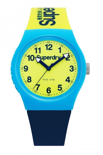 SUPERDRY URBAN Unisex Wrist Watch Green And Navy Silicone Strap SYG164UNA
