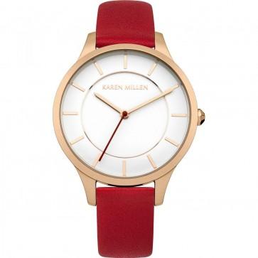 Karen Millen Women's Quartz Watch  Red Leather Strap KM133RRGA
