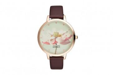 Charlotte Raffelli Ladies Watch Flower Dial Brown Leather Strap CRF009
