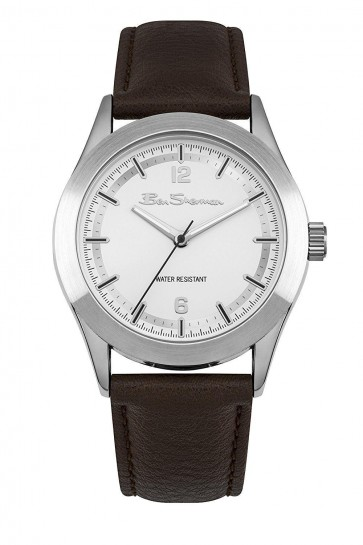 Ben Sherman Mens Gents Wrist Watch Brown Strap Silver Dial BS158