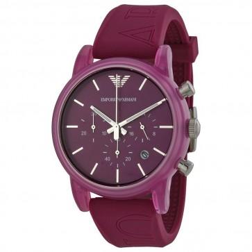 Emporio Armani Unisex Chronograph Watch Purple Silicone Strap Purple Dial AR1059