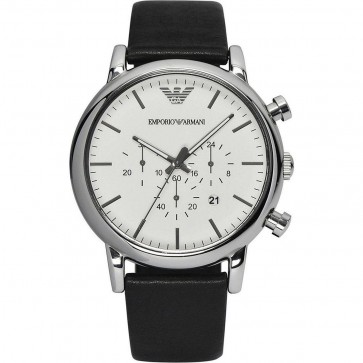 Emporio Armani Mens Watch Black Leather Strap White Dial AR1807