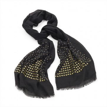Black scarf with gold colour studs