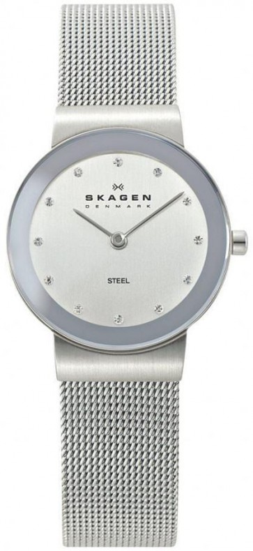Skagen Ladies Quartz Silver Dial Stainless Steel Mesh Watch 358SSSD