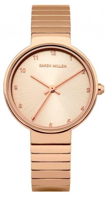 Karen Millen Womens Quartz Watch Rose Gold Stainless Steel Bracelet KM131RGM
