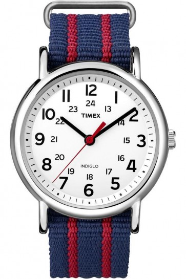 Timex Mens Indiglo Watch Striped Nylon Strap White Dial T2N747