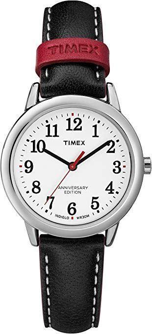 Timex Women's Ladie's Quartz Watch With White Dial Black Strap TW2R40200