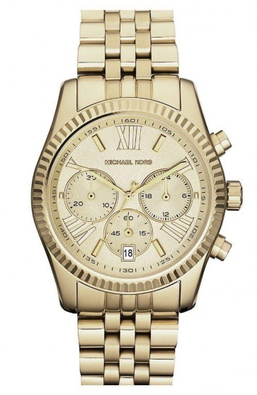 Michael Kors Ladies Lexington Chronograph Watch Gold Case & Bracelet Gold Dial MK5556