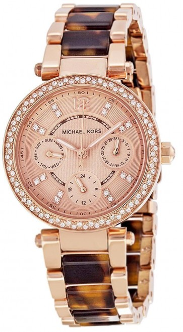 Michael Kors Parker Womens Ladies Watch Rose Gold Tortoiseshell Stainless Steel Bracelet Rose Gold Dial MK5841