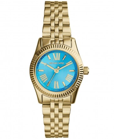 Michael Kors Ladies Watch Gold Bracelet Blue Dial MK3271
