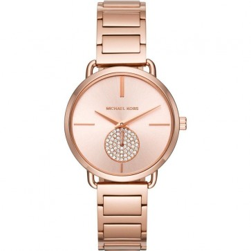 Michael Kors Portia Womens Ladies Watch Rose Gold Stainless Steel Bracelet Rose Gold Dial MK3640