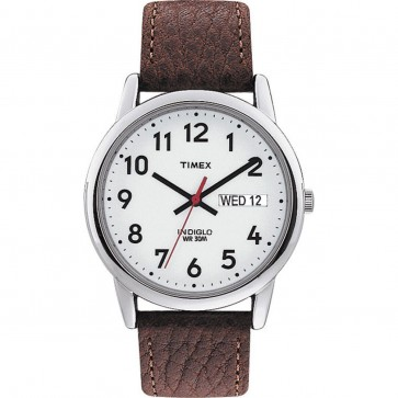 Timex Mens Gents Easy Reader Quartz Wristwatch With White Dial Brown Strap T20041