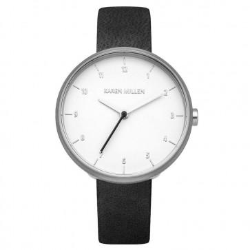 Karen Millen Womens Ladies Wrist Watch Black Leather Strap KM135B