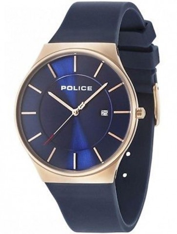 Police Mens Gents Quartz Watch Blue Dial and Blue Silicone Strap 15045JBCR/03P