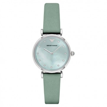 Emporio Armani Ladies Watch Green Leather Strap Green Dial AR1959