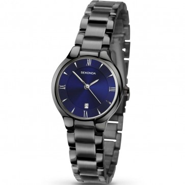 Sekonda Ladies Womens Wrist Watch Blue Face Gunmetal Strap 2287