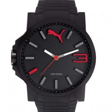 Puma Ultra Size Black & Red Mens Gents Wrist Watch PU104301004