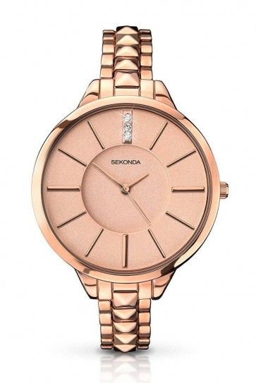 Sekonda Ladies Womens Wrist Watch  Gold Dial Stainless Steel Strap 2015