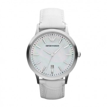 Emporio Armani Ladies Watch White Leather Strap Mother of Pearl Dial AR2465