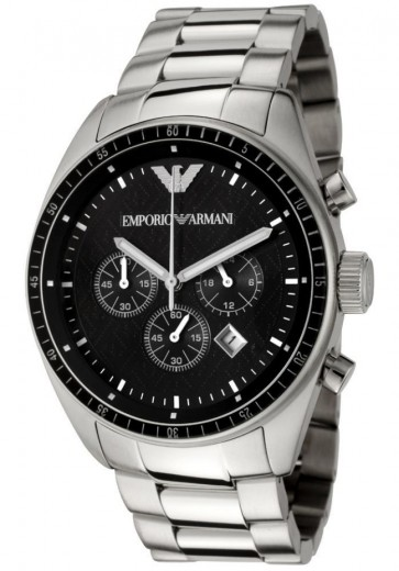 Emporio Armani Men's Chronogpaph Black Dial Watch Stainless Steel AR0585