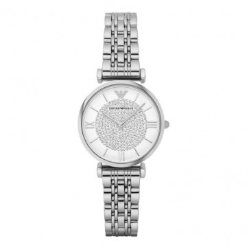 Emporio Armani Ladies Watch Stainless Steel Bracelet White Crystal Dial AR1925