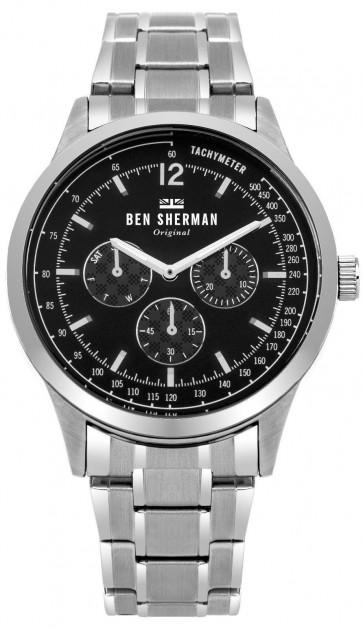 Ben Sherman Mens Gents Spitalfields Wrist Watch Silver Strap Black Dial WB073BSM