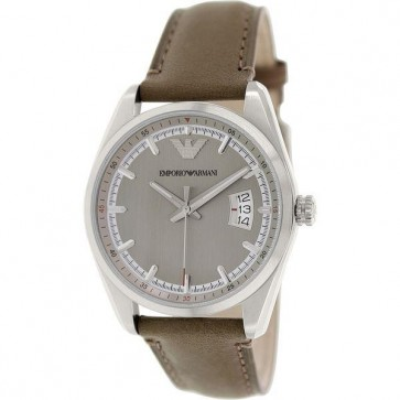 Emporio Armani Mens Watch Brown Leather Strap Cream Dial AR6016