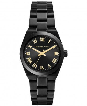 Michael Kors Mini Channing Ladies Watch Black Ion Bracelet Black Dial MK6100