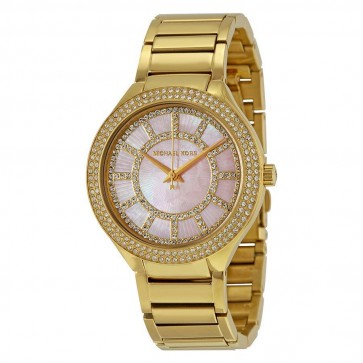 Michael Kors Ladies Kerry Watch Gold Bracelet Pink Dial MK3396