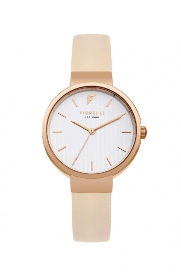 Fiorelli Womens Ladies Rose Gold PVD Stainless Wrist Watch White Face FO035CRG