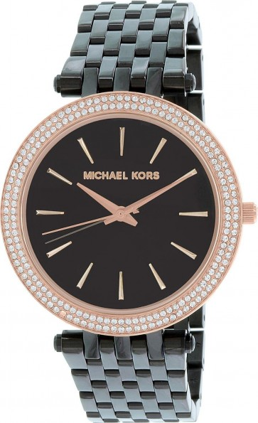 Michael Kors Ladies Darci Watch Black Carbon Stainless Steel Case and Bracelet Black Dial MK3407