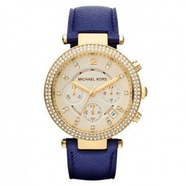 Michael Kors Thin Parker Ladies Womens Watch Gold Dial Blue Strap MK2280