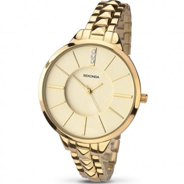 Sekonda Ladies Womens Wrist Watch Gold Strap Champagne Dial  SK2014