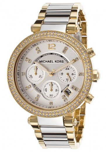 Michael Kors Parker Ladies Chronograph Watch Gold Tone Dial Strap MK5687