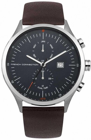 French Connection Mens Watch Blue Face Silver Dial Brown Leather Strap FC1266UT