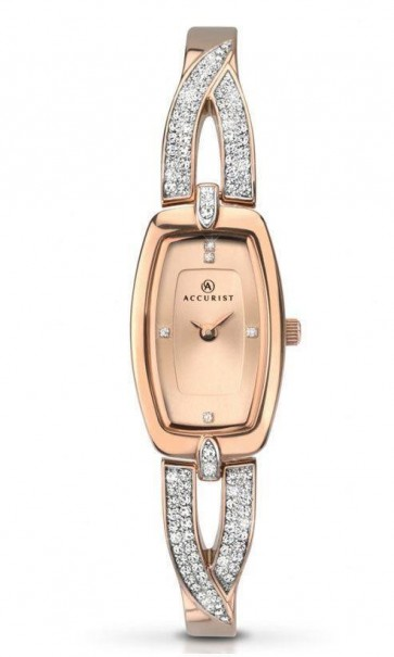 Accurist Ladies London Watch Rose Gold Dial Rose Gold PVD Bracelet 8033