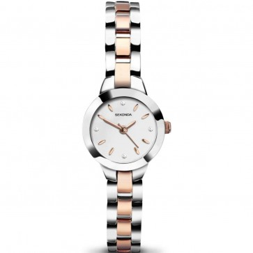 Sekonda Ladies Womens Wrist Watch Two Tone Strap Silver Face 2145