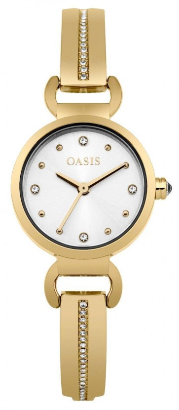 Oasis Womens Ladies Watch Gold Strap Silver Face B1573